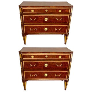 Hollywood Regency Jansen Style Chests or Commodes Tortoise Shell Finish, a Pair For Sale