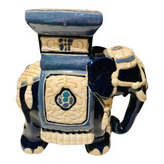 Asian Blue and White Ceramic Elephant Stool For Sale