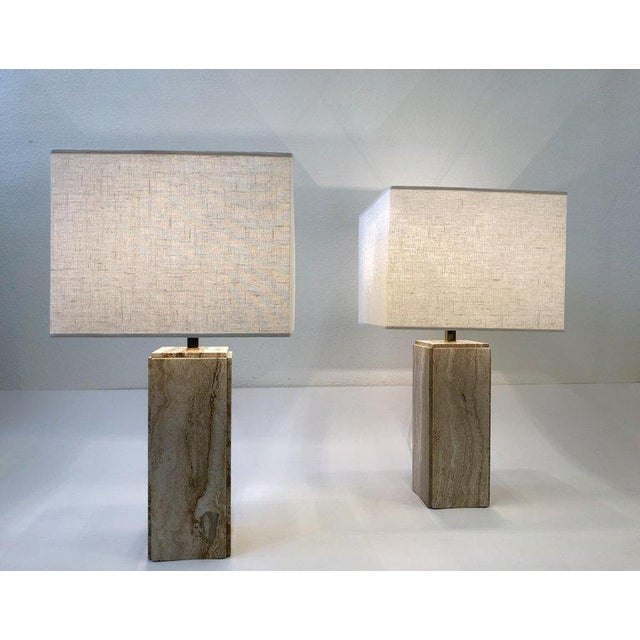 1970s Italian Travertine and Brass Table Lamps - a Pair For Sale - Image 5 of 10