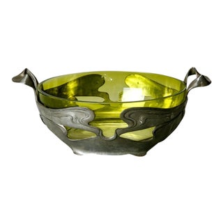 Art Nouveau Green Glass Center Bowl with Pewter Surround