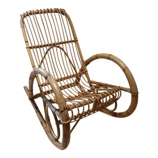 Franco Albini Design Vintage Bamboo Rocking Chair / Porch Chair