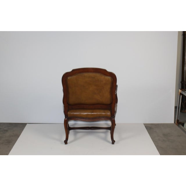 Louis XV-Style Brown Leather Chairs - Set of 3 - Image 5 of 5