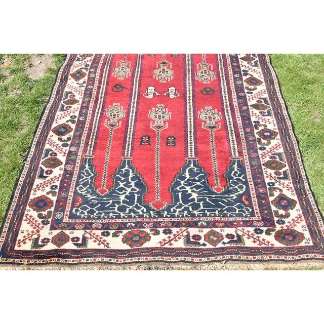 Textile Turkish Vintage Oriental Design Red-Blue Color Carpet - 4x8.5 For Sale - Image 7 of 12