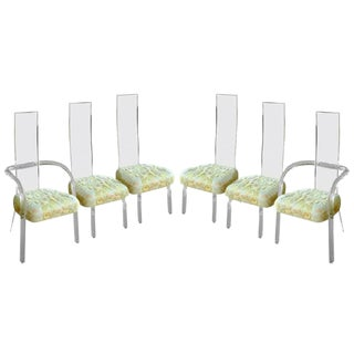 Charles Hollis Jones High Back Lucite Dining Chairs - Set of 6