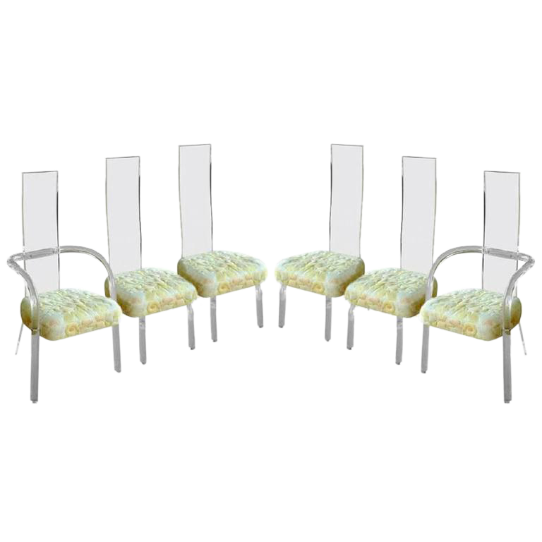 Charles Hollis Jones High Back Lucite Dining Chairs   Set Of 6