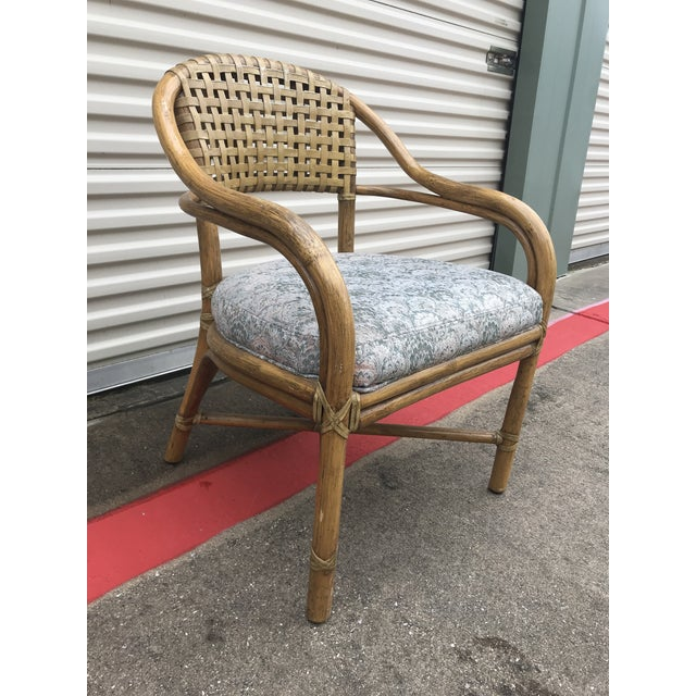 1970s Vintage McGuire Rattan and Leather Dining Chairs- Set of 10 For Sale In Dallas - Image 6 of 12