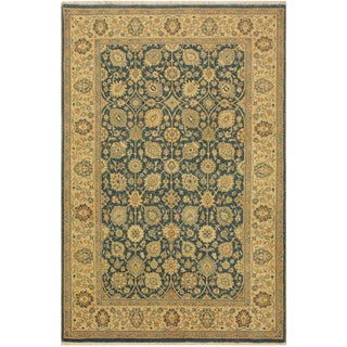 Istanbul Cherelle Teal Blue/Ivory Turkish Hand-Knotted Rug -4'2 X 6'3 For Sale