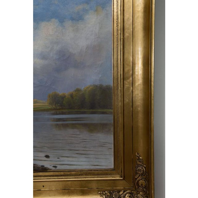 English Traditional European Landscape Painting Oil on Canvas For Sale - Image 3 of 7