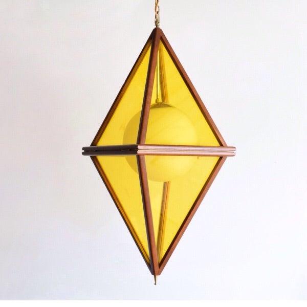 Mid-Century Teak & Yellow Pendant Light - Image 2 of 11