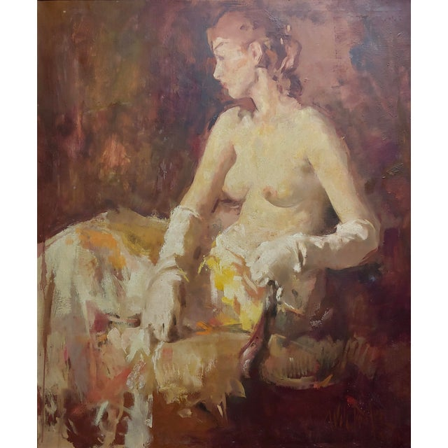 Figurative William Frederick Foster -Seated Nude Woman W/White Gloves- Oil Painting- C1930s For Sale - Image 3 of 9