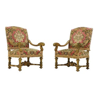 19th Century French Baroque Giltwood Arm Chairs - a Pair For Sale