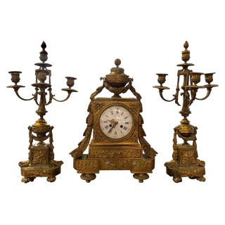 19th Century French Three-Piece Clock Set Garniture by Masion P For Sale
