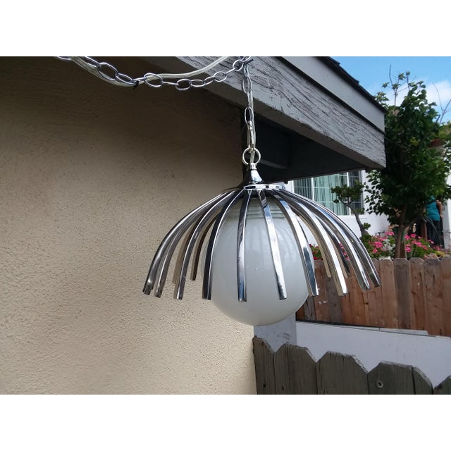 Mid-Century Modern Custom Mid-Century Pendant Available With Large Globe (As Seen or Smaller Globe For Sale - Image 3 of 9