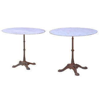 1920s French Cast Iron and Zinc Round Bistro Tables (2 Available) For Sale