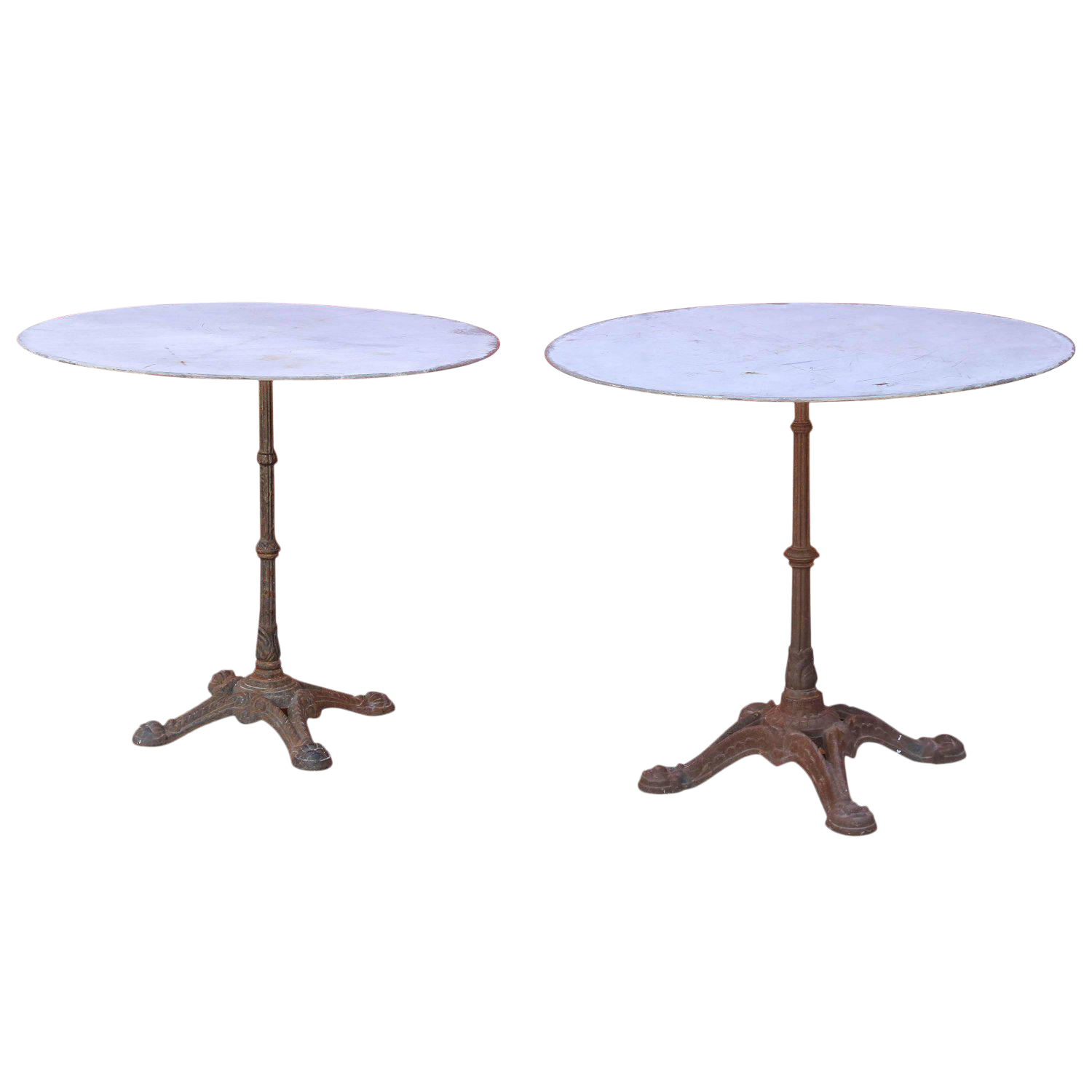 Pair Of 1920s French Cast Iron And Zinc Round Bistro Tables
