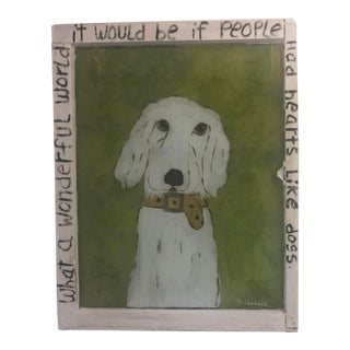 Reverse Glass Window Painting of Golden Retriever For Sale