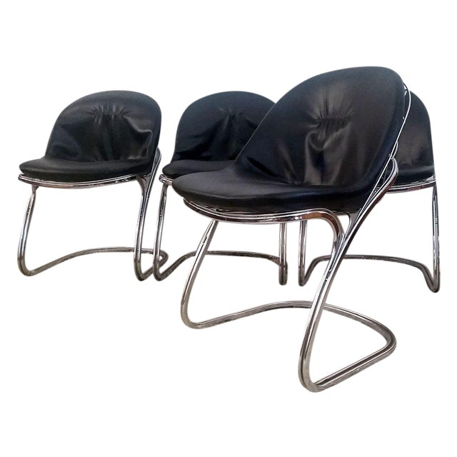 Gastone Rinaldi Chrome Dining Chairs - Set of 4 For Sale