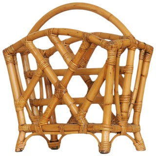 Restored Rattan Magazine Rack, Circa 1940