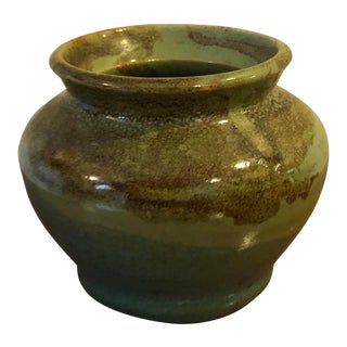 Hand Thrown Green Pottery Vessel For Sale