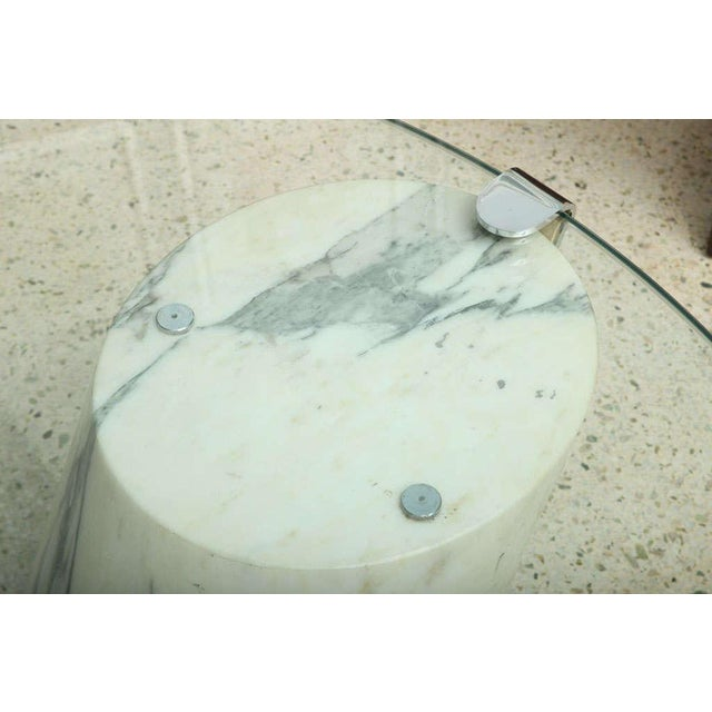 White Marble and Glass Low Table Possibly by Brueton For Sale - Image 8 of 9