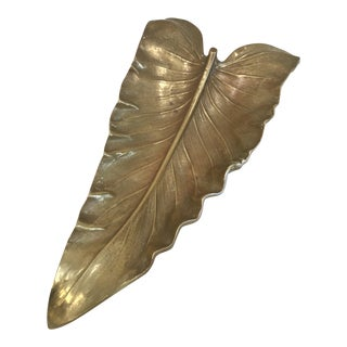 1940's Boho Chic Large Brass Calla Lilly Leaf Tray