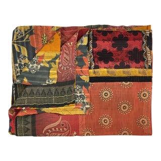 Warm Bohemian Vintage Kantha Quilt
