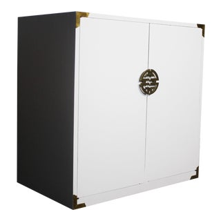 White Hollywood Regency Cabinet in White with Gold Accents For Sale