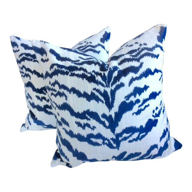 Contemporary Blue & Ivory Velvet Tiger Pillows - a Pair For Sale