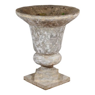 1950s English Vintage Stone Inverted Bell-Shaped Urn with Catty-Corner Bases For Sale