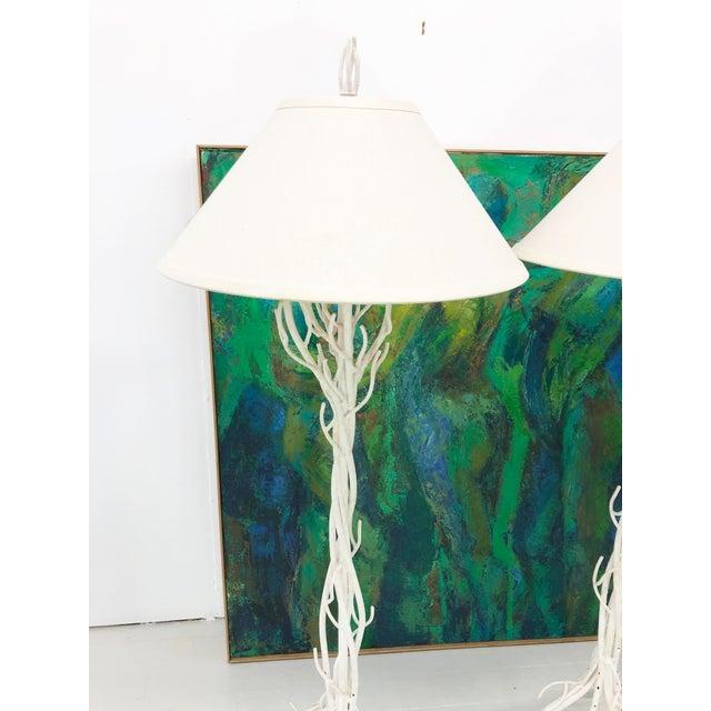 Faux Bois Metal Floor Lamps - a Pair For Sale - Image 4 of 12