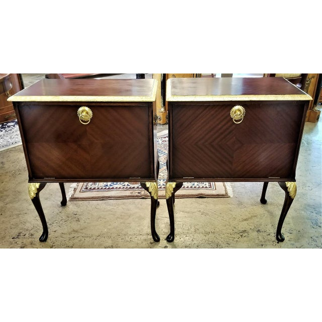 Chippendale Chippendale Mahogany With Gilt Accents Side Tables / Nightstands - a Pair For Sale - Image 3 of 13