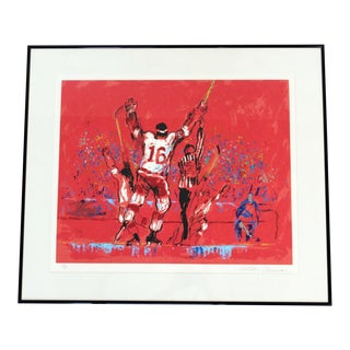 1970s Mid Century Modern Framed Red Goal Litho, Signed Leroy Neiman 170/300 For Sale
