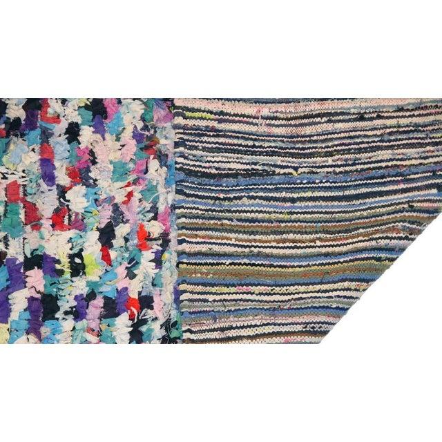 "Boho Chic Vintage Boucherouite Moroccan Carpet - 6'5"" X 4'10"" For Sale - Image 3 of 3"