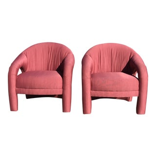 Vladimir Kagan Style Sculptural Lounge Chairs - a Pair For Sale