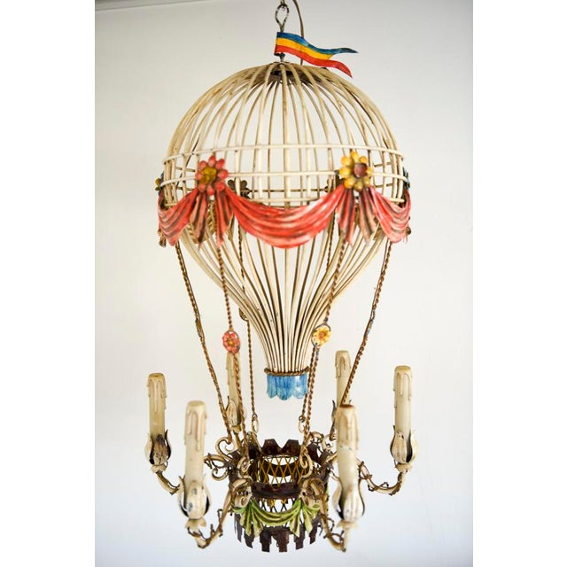 Hot air balloon chandelier chandelier ideas vintage french tole hot air balloon chandelier chairish mozeypictures Images
