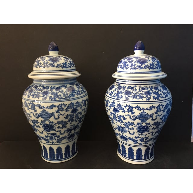 "Ceramic Porcelain B & W Ginger Jars 14.5"" H For Sale - Image 7 of 9"