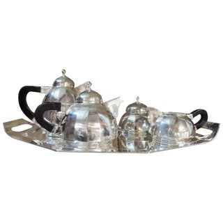 Art Deco Silver Tea and Coffee Service Dome Topped For Sale