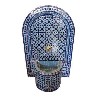 Blue on Blue Arched Moroccan Mosaic Tile Fountain For Sale