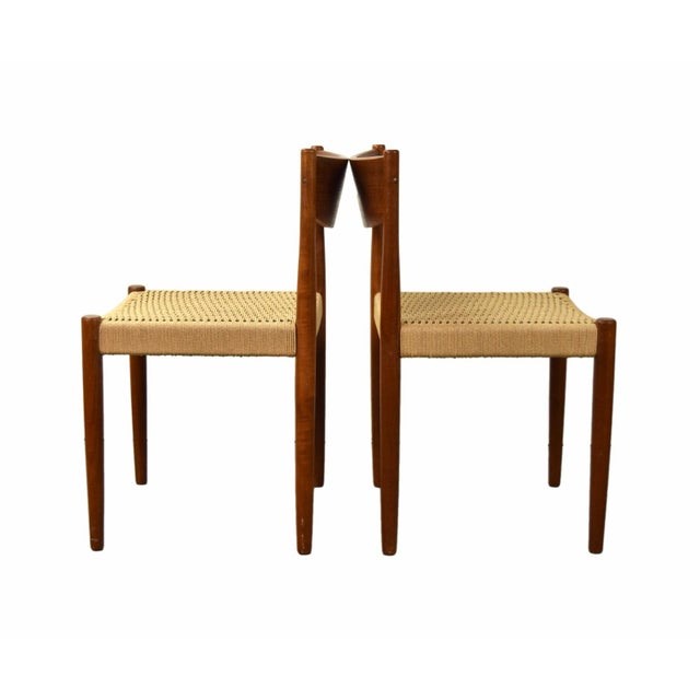 Danish Modern Vintage Poul Volther for Frem Rojle Cord Dining Chairs - A Pair For Sale - Image 3 of 9