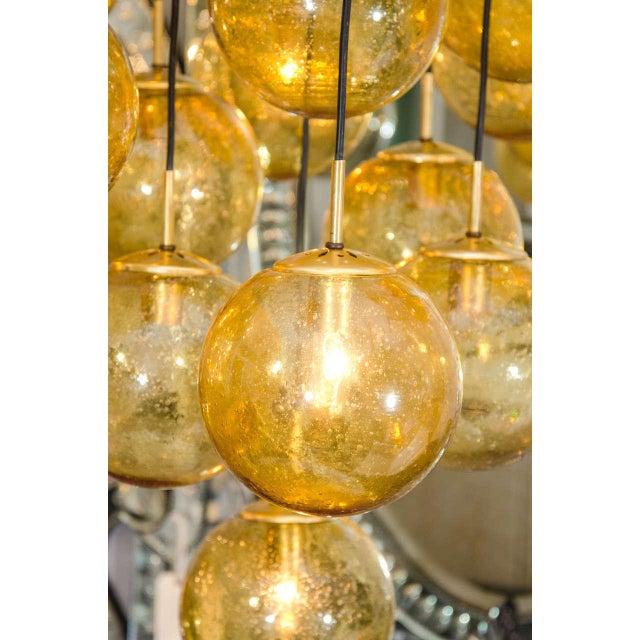 1960s Glass Globe Chandelier by Limburg Glashütte, Germany For Sale - Image 5 of 6