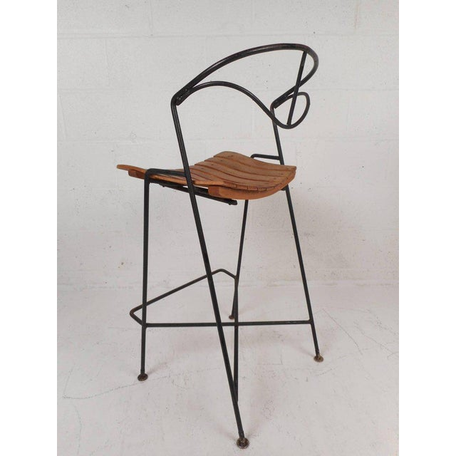 Mid-Century Modern Wrought Iron Bar Stools by Arthur Umanoff - Set of 3 For Sale - Image 3 of 10