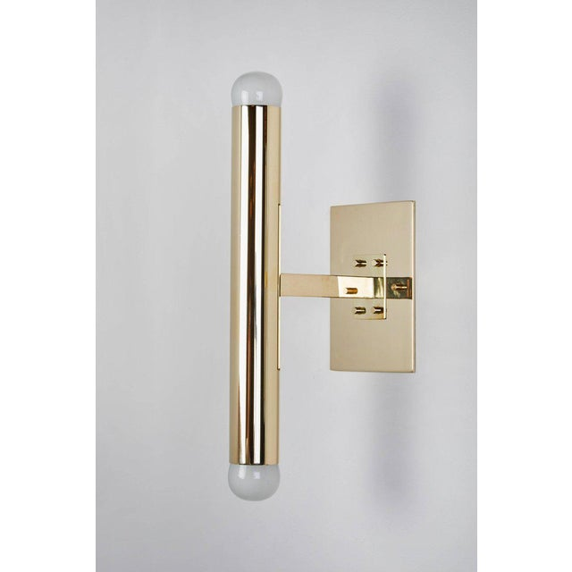1960s Set of Eight Italian Brass Tubular Sconces For Sale - Image 5 of 7