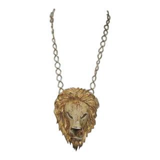 1970s Gilt Metal Lion Pendant For Sale