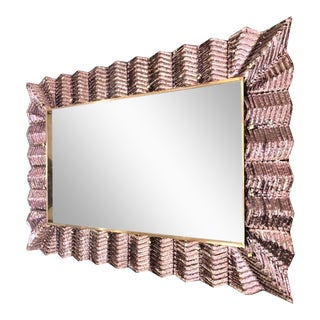 Bespoke Italian Art Deco Design Ruffled Silver Pink Murano Glass Brass Mirror For Sale