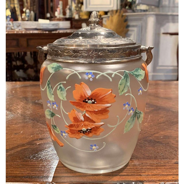 Early 20th Century Silver Plated and Painted Frosted Glass Candy Jar With Lid For Sale In Dallas - Image 6 of 12