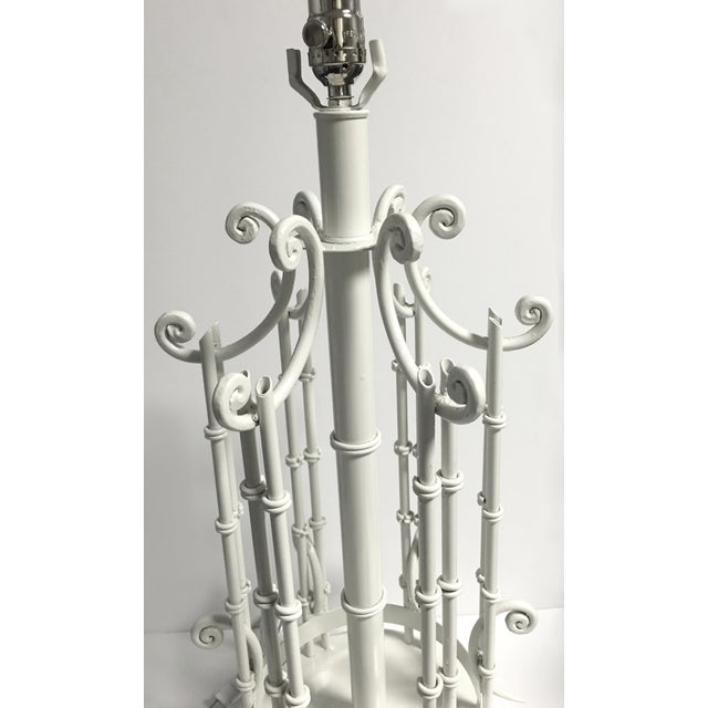Chinoiserie Faux Bamboo White Table Lamp For Sale - Image 4 of 5
