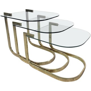 Mid-Century Glass and Brass Nesting Tables by Milo Baughman For Sale