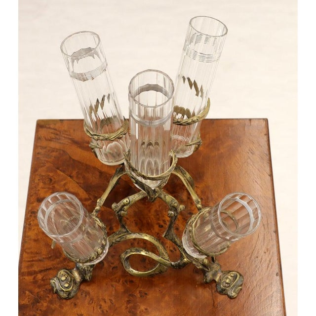 Art Nouveau Art Nouveau 5 Branches Center Piece Cut Glass Vases For Sale - Image 3 of 13