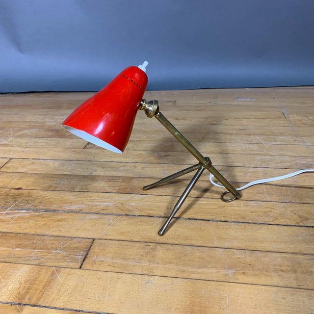 """Red Giuseppe Ostuni 1950s """"Ochetta"""" Lamp for Oluce, Italy For Sale - Image 9 of 9"""