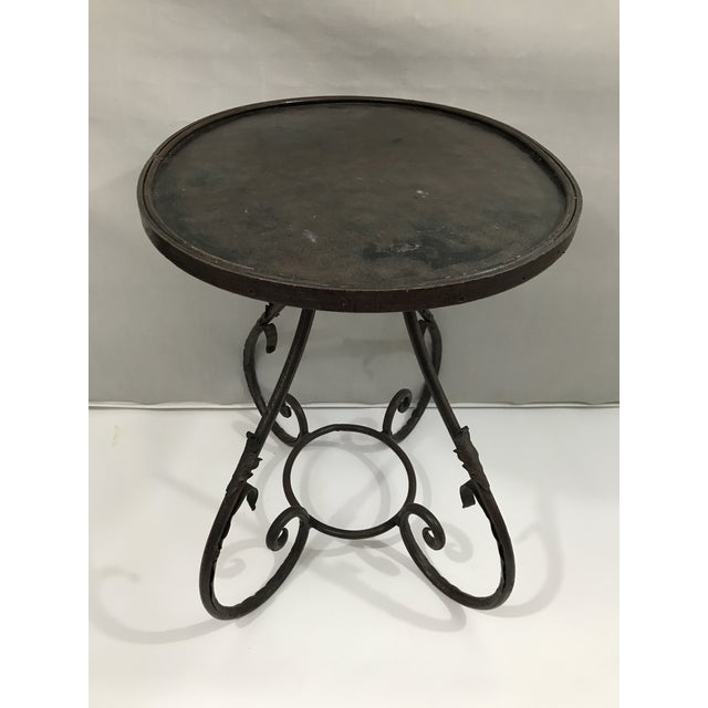 Oval Metal Side Table For Sale - Image 4 of 9